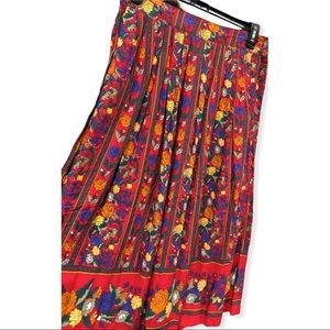 Vintage Red Floral Boho Pleated Maxi Skirt Large